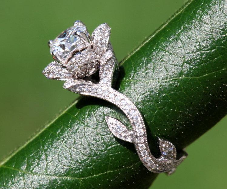 Flower rose lotus diamond engagement ring