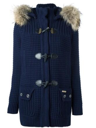 coat duffle coat women blue wool
