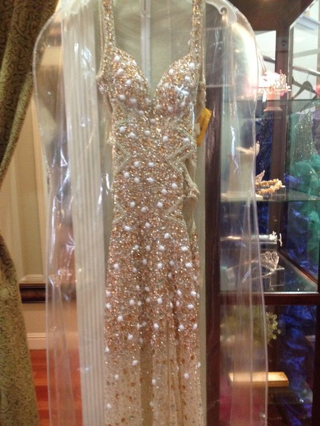 dress rhinestones beige prom