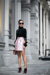 wendy's lookbook,blogger,top,shoes,bag,sunglasses,jewels,velvet boots,pink skirt,mini skirt,satin skirt,turtleneck,black top,long sleeves,black sunglasses,peep toe boots,date outfit