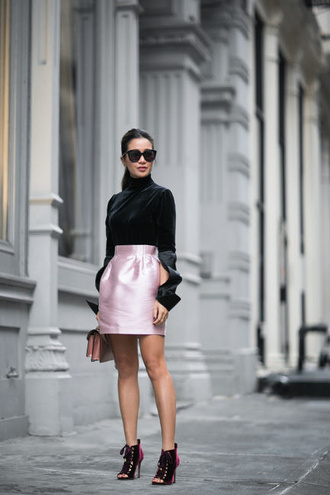 wendy's lookbook blogger top shoes bag sunglasses jewels velvet boots pink skirt mini skirt satin skirt turtleneck black top long sleeves black sunglasses peep toe boots date outfit