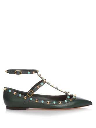 flats leather flats leather dark green shoes