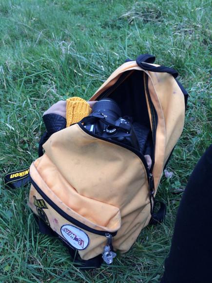 yellow bag orange hipster grunge punk nikon nature eastpak nirvana