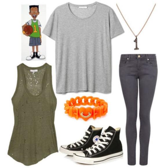 t-shirt grey shirt jeans green shirt grey skinny jeans