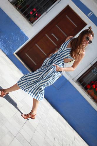 b a r t a b a c blogger striped dress stripes blue dress summer dress spring dress hun romantic summer dress