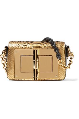 mini metallic new python bag shoulder bag leather gold