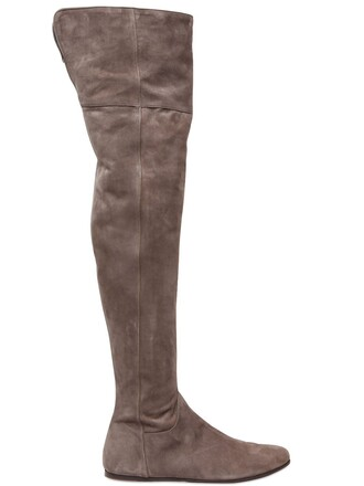 over the knee boots suede taupe shoes