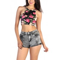 LoveMelrose.com From Harry & Molly   Floral Crop Top - Black