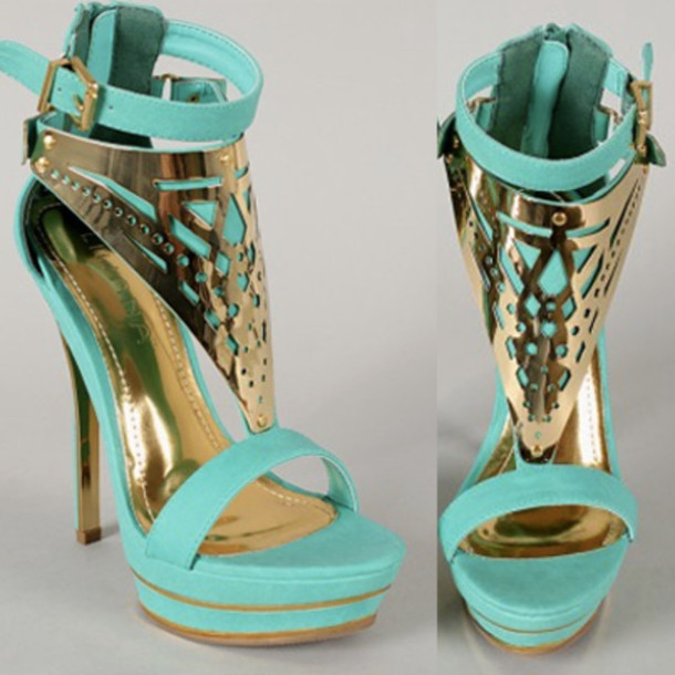 Shoes Light Blue Teal High Heels Cute Sexy Pretty