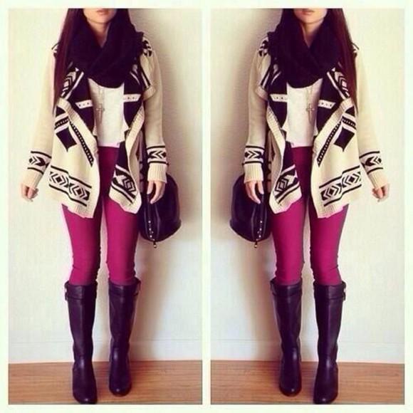bag jewels boots cardigan scarf
