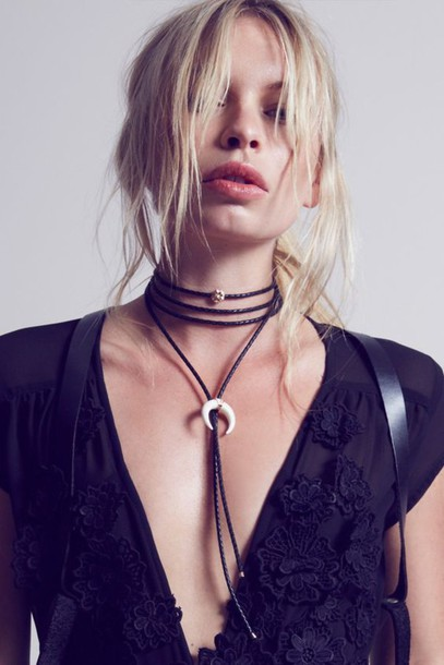 jewels blonde hair choker necklace black choker horn boho jewelry boho chic jewelry necklace wrap choker wrap necklace bolo necklace lariat crescent pendant accessories boho bohemian