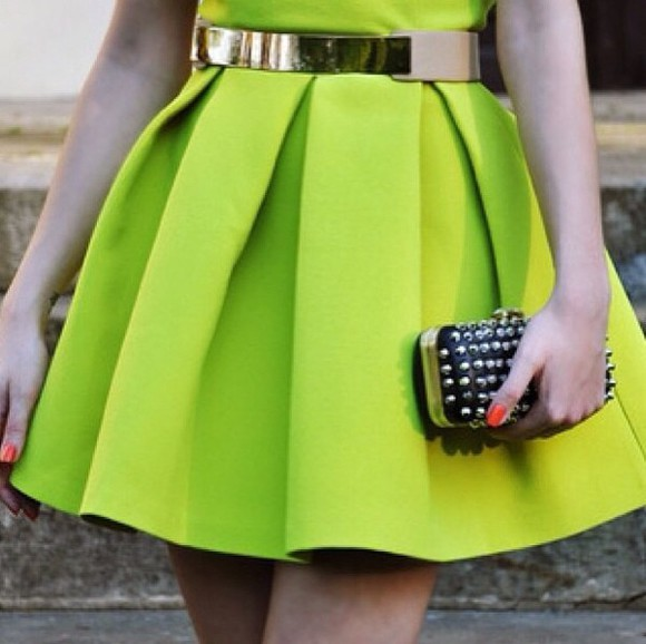 skirt neon green dress lime bright high waist fashion