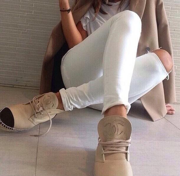 shoes boots beige coat fashion