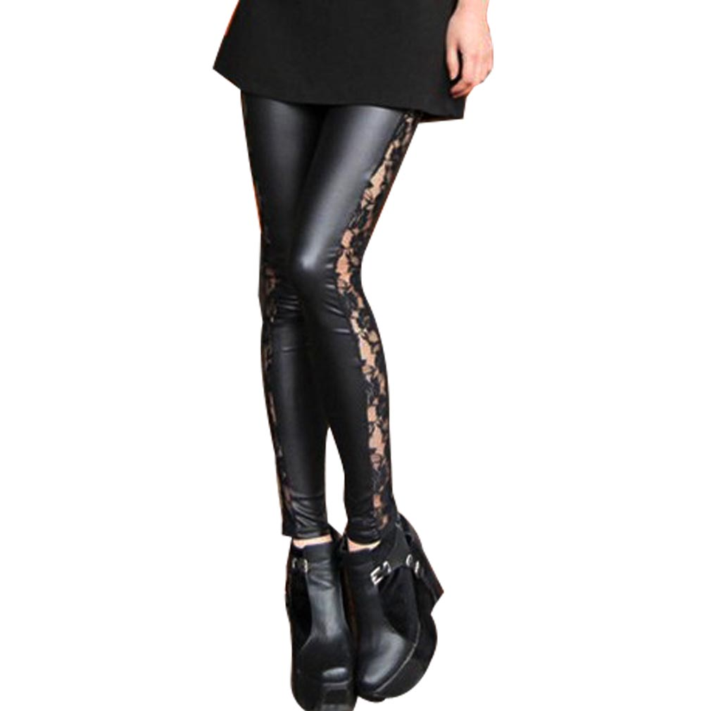 M XL Goth Punk Wetlook Side Lace Trims Sexy Black Leggings Tights Pants L412B | eBay