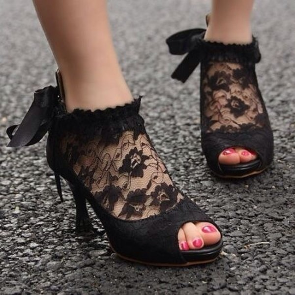 shoes high heels dentelle lace heels peep toe pumps
