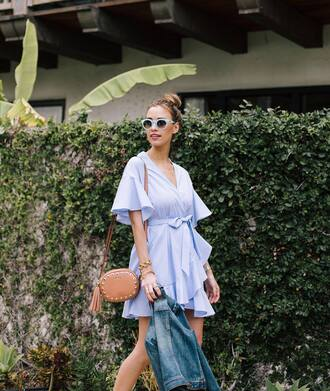 dress tumblr mini dress blue dress wrap dress bag brown bag sunglasses