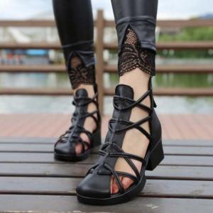 Black Vegan Shoes Closed Toe Low Heel Summer Boots US Size 3-15