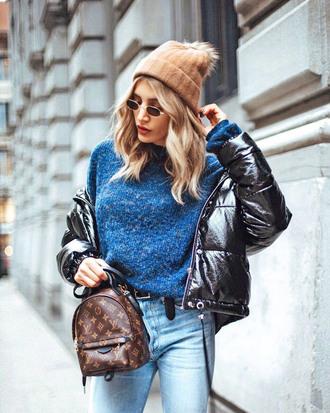 jacket tumblr black jacket down jacket sweater blue sweater knit knitwear knitted sweater backpack mini backpack beanie pom pom beanie sunglasses