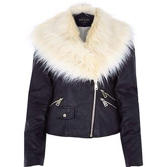 coat leahter jacket white fur leather