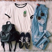 jeans,ripped jeans,blue,grunge,hipster,boyfriend jeans,hollow out,casual,shirt,tumblr,tumblr outfit,tumblr clothes,style,t-shirt,bag,pants,white,high waisted jeans,sunglasses,straight jeans,vans,pineapple print,ripped,white t-shirt