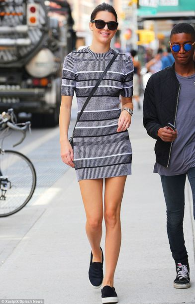 kendall jenner streetstyle model striped dress grey dress bodycon dress vans