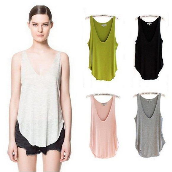 17ee85c7e74d43 Free Shipping 1pc Fashion Summer Womens Sleeveless V Neck Vest Loose Tank  Tops Camisole T shirt ...