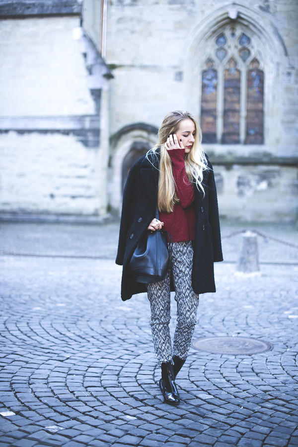 tiphaine's diary coat pants sweater bag shoes jewels