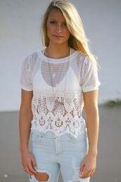 top,girly,boho chic,summer outfits,summer shirt,look for less,everyone need it,look of the day,white colored,lace,designs