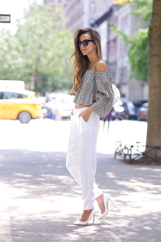 something navy blogger pants top shoes bag sunglasses jewels