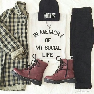 flannel shirt hat boots