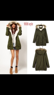 coat,green,parka,winter outfits,cute,winter coat,warmth,love