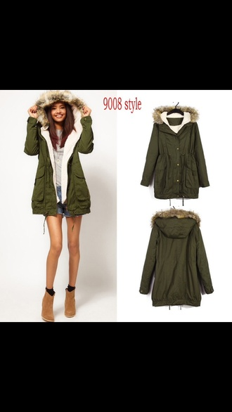 coat green parka winter outfits cute winter coat warmth love