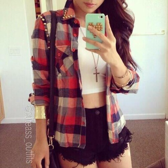 top cardigan flannel checkered