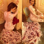 dress,flowers,gown,rose,lace dress,prom dress,roses