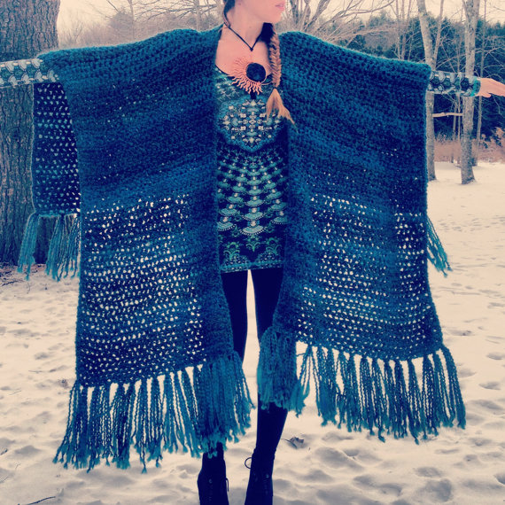 Crocheted Fringed ShawlFringed by GoldenHandsDesign on Etsy