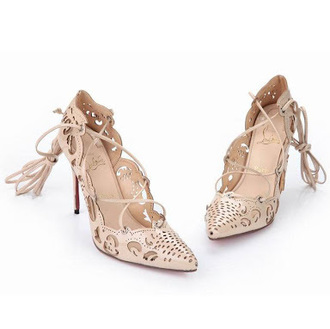 shoes christian louboutin heels louboutin tie-up heels