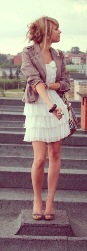 jacket,dress,white dress,lace dress,layered