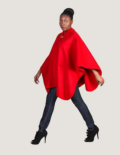 """The red """"raina"""" wool cape by ruedechic on sense of fashion"""