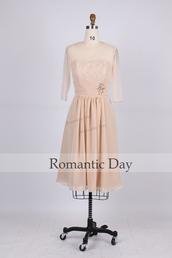 lace dress,half sleeve dress,chiffon dress,mother of the bride dress,mother dresses,wedding guest dresses,custom made dresses,nude dress,a line dress,short dress