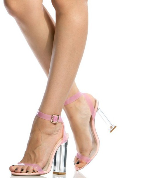 shoes girl girly girly wishlist heels high heels pink clear heels clear  cute ankle strap heels
