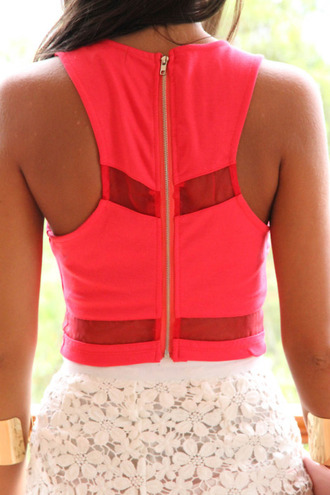 neon pink racerback lace floral white gold cuff