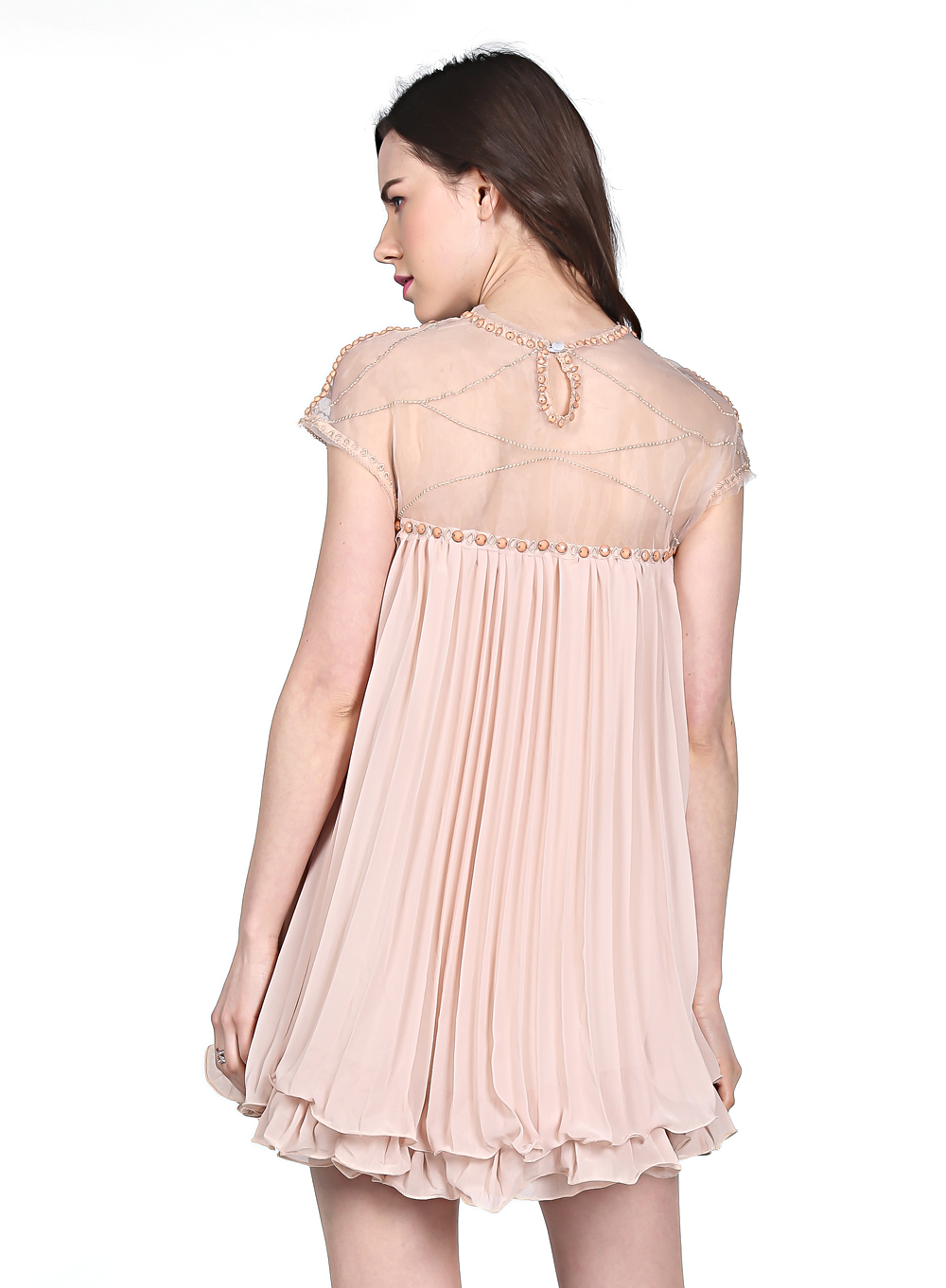 Apricot Short Sleeve Lace Pleated Chiffon Dress - Sheinside.com
