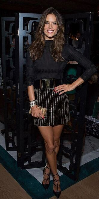 skirt top striped skirt alessandra ambrosio pumps shoes