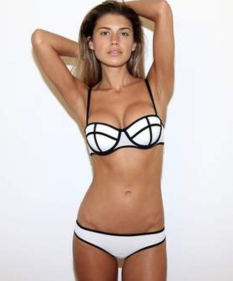 black and white swimwear bikini summer