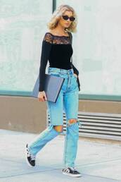top,elsa hosk,model off-duty,streetstyle,fall outfits,lace top,long sleeves,jeans,sneakers,bodysuit