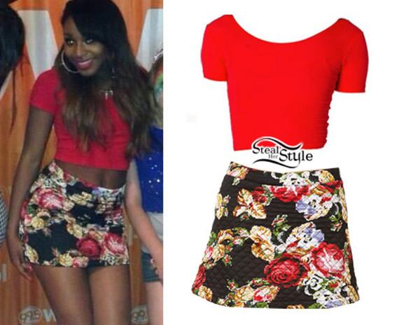 skirt floral mini skirt short skirt floral skirt floral mini skirt floral short skirt Normani Kordei Hamilton Fifth Harmony