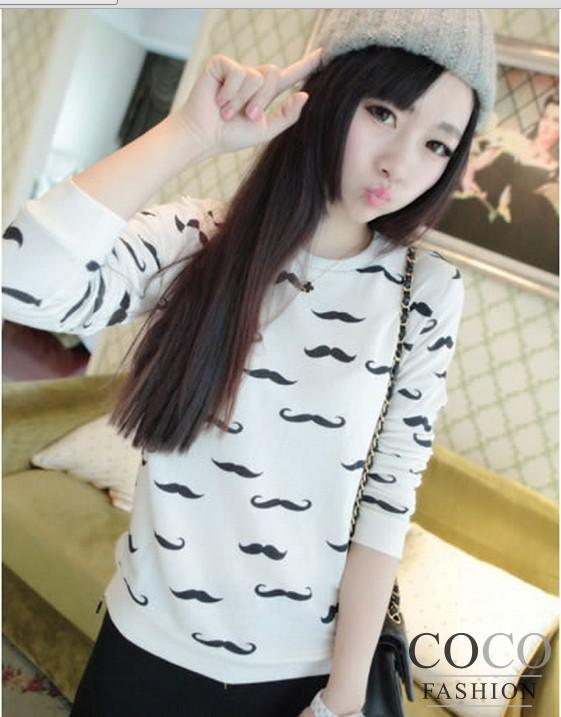 White Cute Mustache Print Simple Casual Street Style Blouse