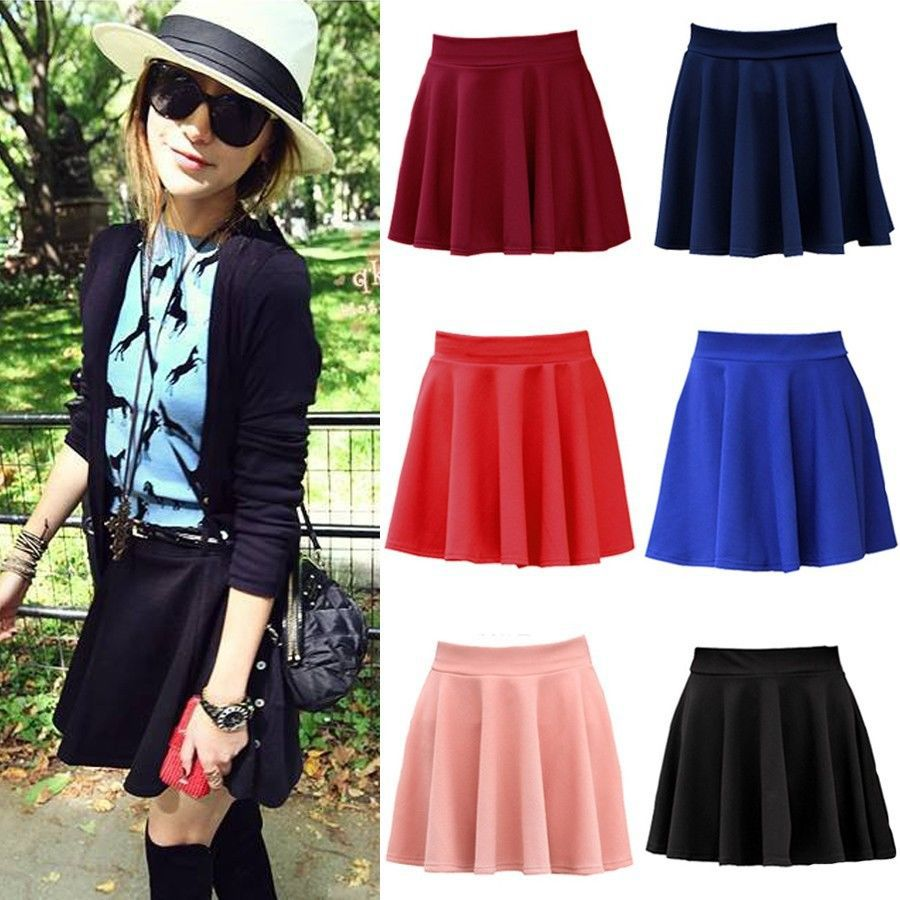 Aliexpress.com : Buy 2014 New Sexy Candy Solid Colors Stretch Waist Flared Pleated Womens Mini Basic Skirt Free Shipping from Reliable candy case suppliers on Dola's Wardrobe
