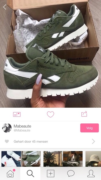 shoes kaki sneakers reebok reebok classic suede