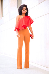 blogger,top,pants,bag,shoes,blouse,red top,orange pants,red bag,clutch